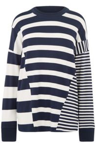 Warehouse Rib Detail Mix Stripe Top