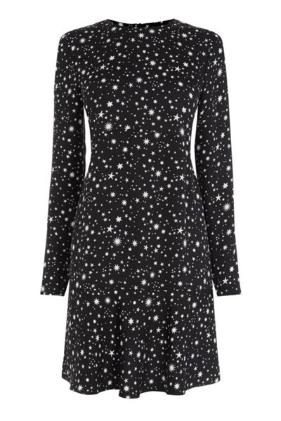 Warehouse Star Print Flippy Hem Dress