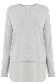 Warehouse Long Sleeve Woven Hem Top