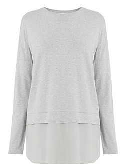 Long Sleeve Woven Hem Top