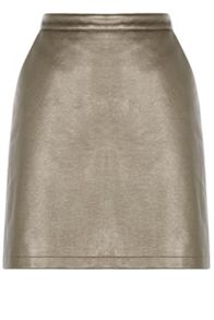 Warehouse Metallic Faux Leather Skirt
