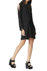 Warehouse Diamante Button Sleeve Dress