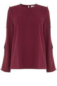 Warehouse Diamante Button Sleeve Top
