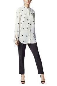 Warehouse Dotty Spot Tie Wrist Blouse