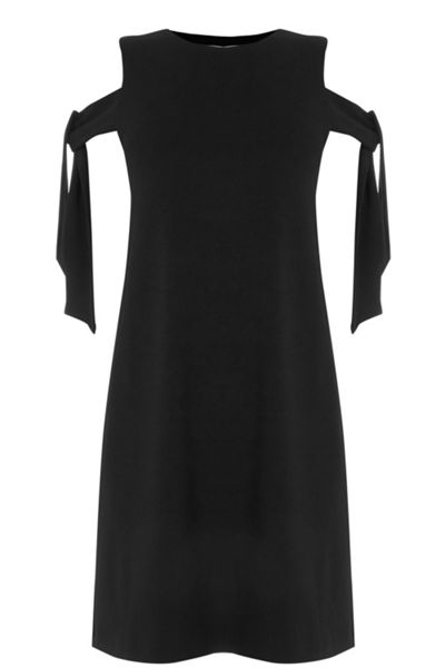 Warehouse Crepe tie shoulder dress