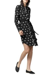 Warehouse Dandy Mono Belted Shirt Dress