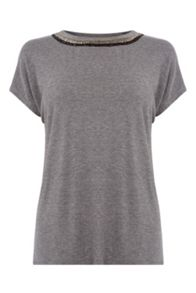 Warehouse Embellished Neck Tee