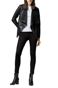 Warehouse Faux Leather Cowl Drape Jacket