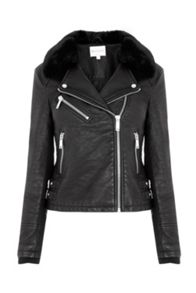 Warehouse Faux Fur Collar Biker