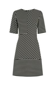 Warehouse Stripe Ponte Panelled Dress
