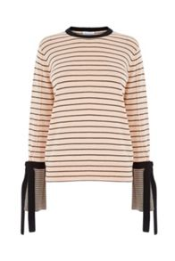 Warehouse Stripe Tie Cuff Jumper