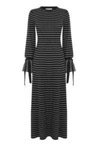 Warehouse Stripe Tie Cuff Maxi Dress