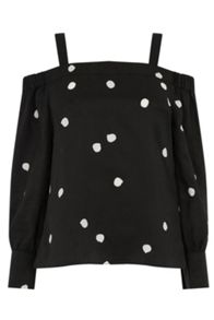 Warehouse Dotty Spot Strappy Bardot Top