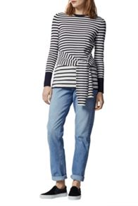 Warehouse Stripe Tie Waist Jumper
