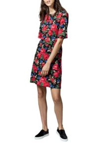 Warehouse Rose Printed Ponte Dress
