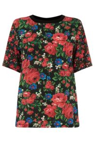 Warehouse Rose Print Woven Front Tee