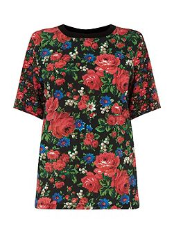 Rose Print Woven Front Tee