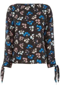 Warehouse Dandy Flower Tie Sleeve Top.
