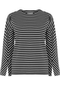 Warehouse Stripe Split Sleeve Ponte Top