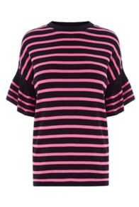 Warehouse Stripe Frill Sleeve Top