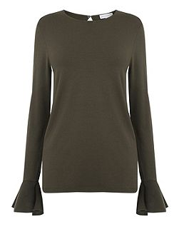 Woven Flute Sleeve Top