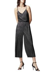 Warehouse Glitter Plisse Jumpsuit