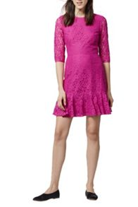 Warehouse Lace Peplum Sleeve Dress
