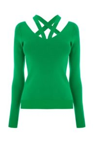 Warehouse Cut Out V Neck Jumper