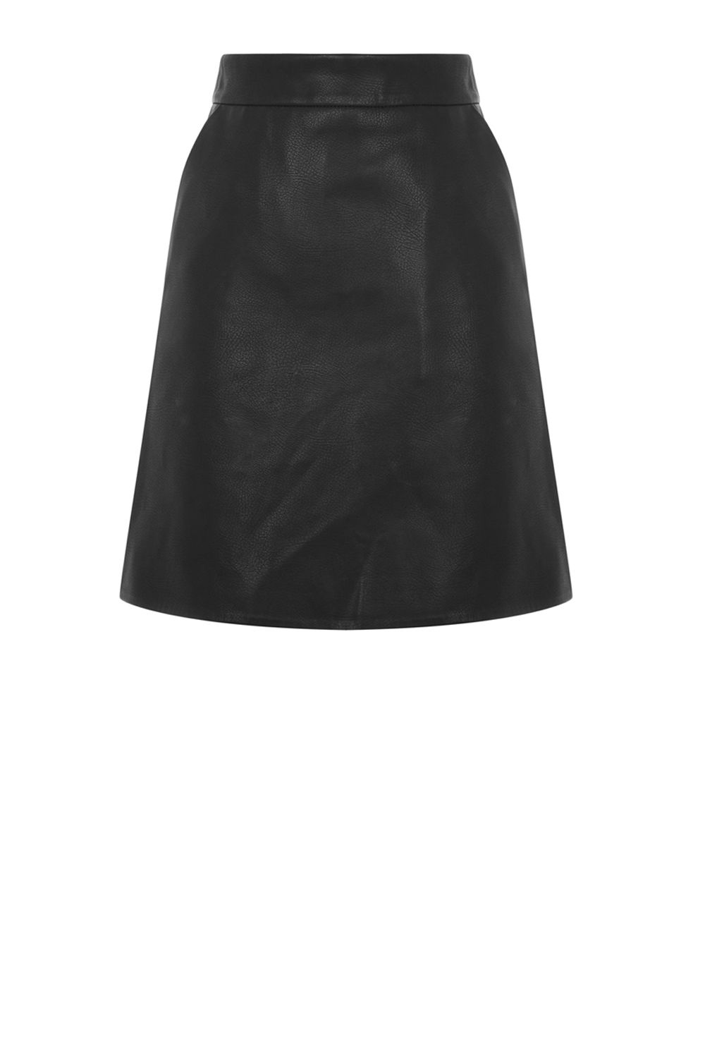 Warehouse Faux Leather Core Pelmet Skirt, Black