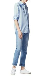 Warehouse ROSE EMBROIDERED STRIPE SHIRT