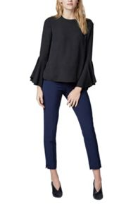 Warehouse Button Back Fluted Sleeve Top