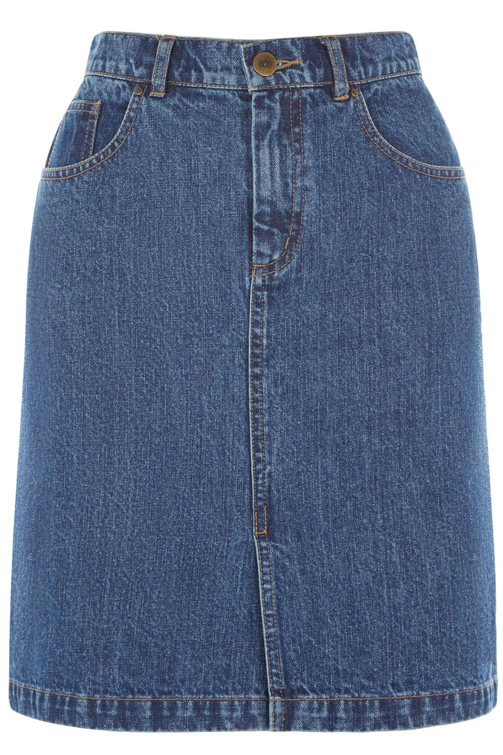 Warehouse Denim Split Front Skirt, Denim