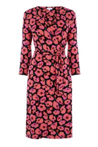 Warehouse POPPY PRINTED WRAP DRESS