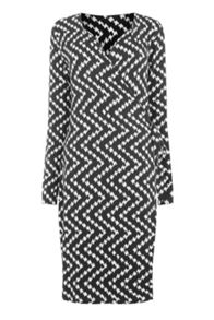 Warehouse CHEVRON PRINT WRAP DRESS
