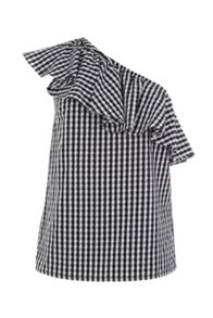 Warehouse Gingham One Shoulder Top