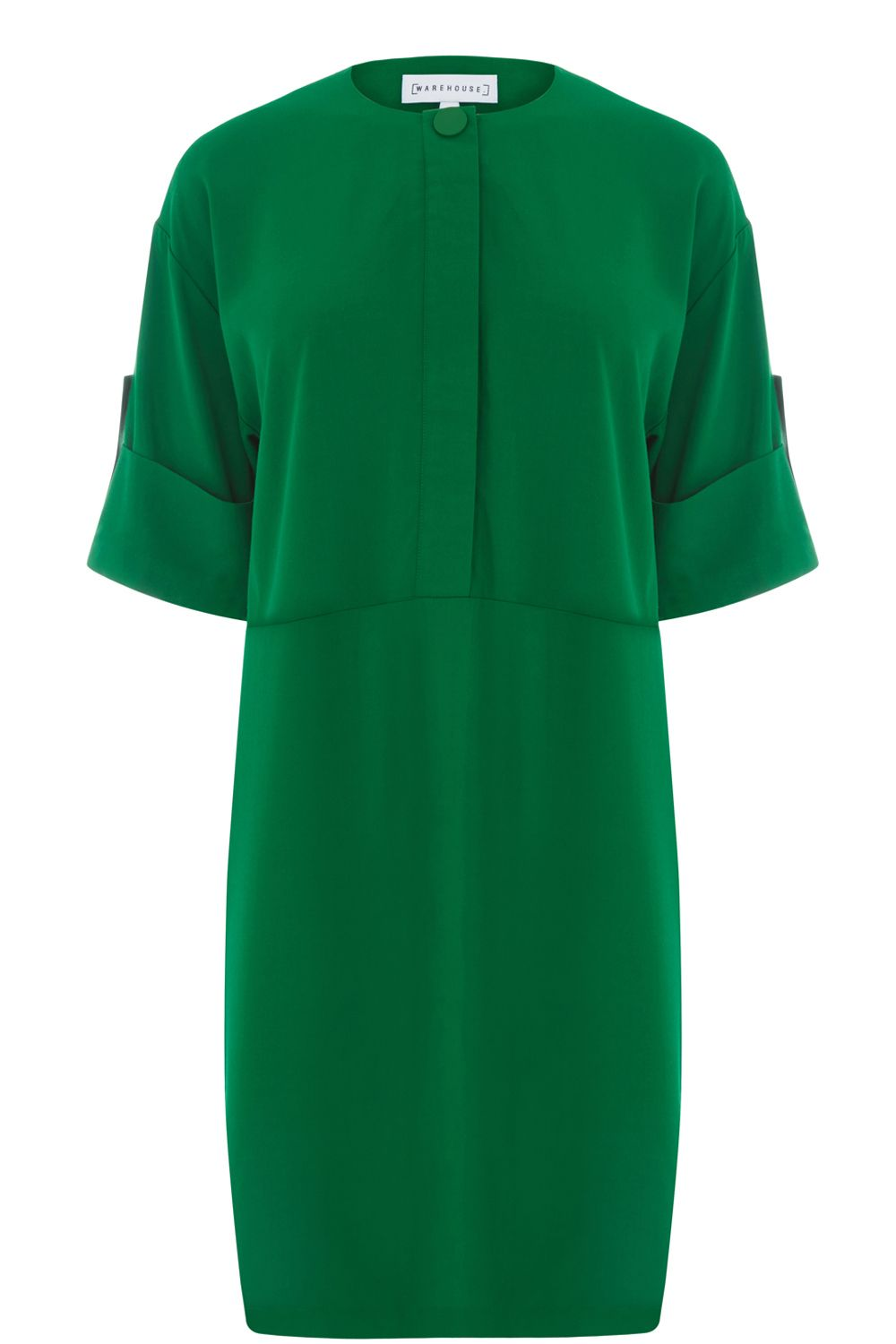 Warehouse Popper Detail Dress, Dark Green