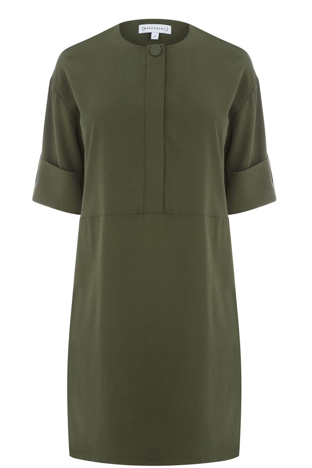 Warehouse Popper Detail Dress, Khaki