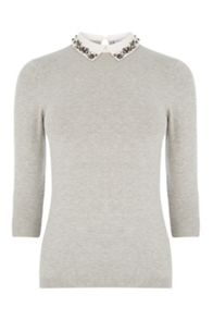 Warehouse Embellished Collar Jumper