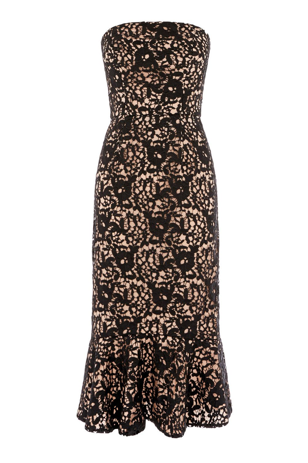 Warehouse Strapless Premium Lace Dress, Black