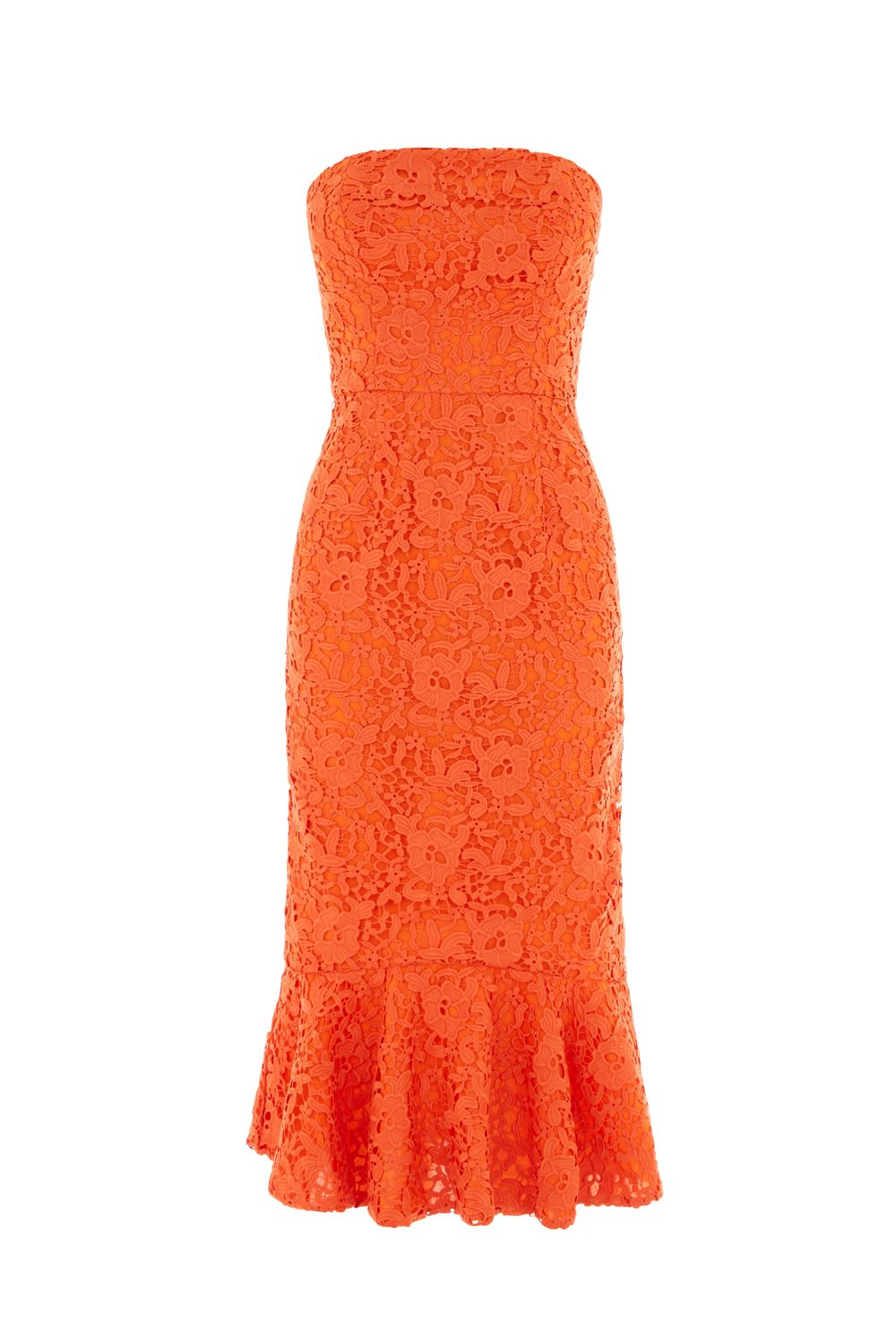 Warehouse Strapless Premium Lace Dress, Orange
