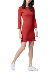 Warehouse Multi Rib Fluted Sleeve Dress