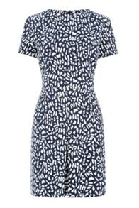 Warehouse Box Pleat Animal Print Dress