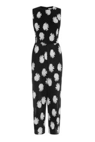 Warehouse Flower Stamp Plisse Jumpsuit