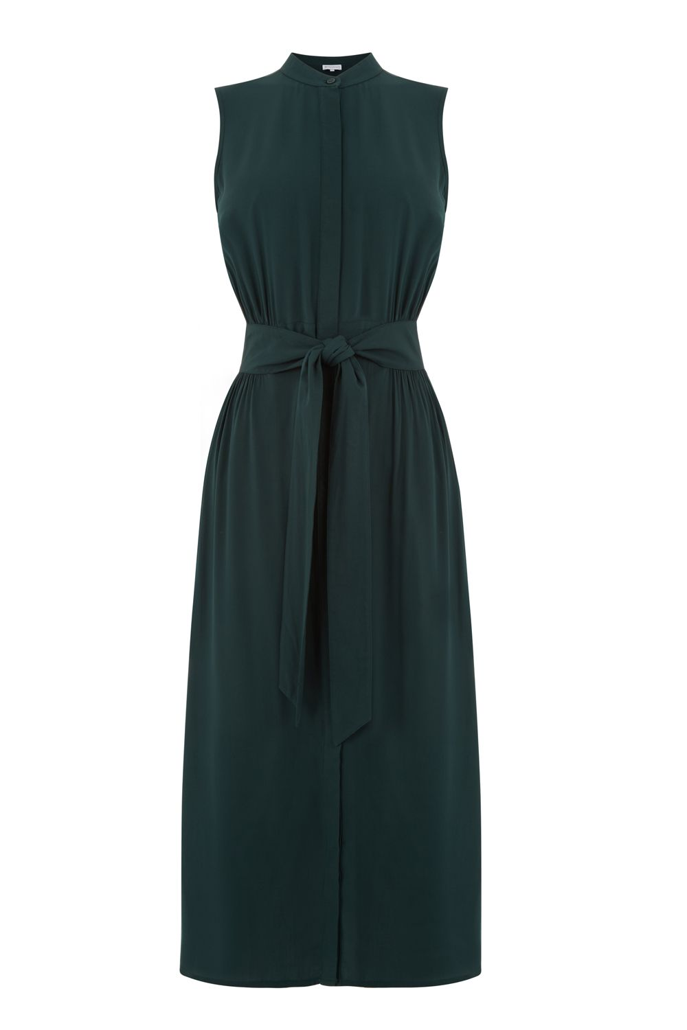 Warehouse Open Back Sleeveless Dress, Dark Green