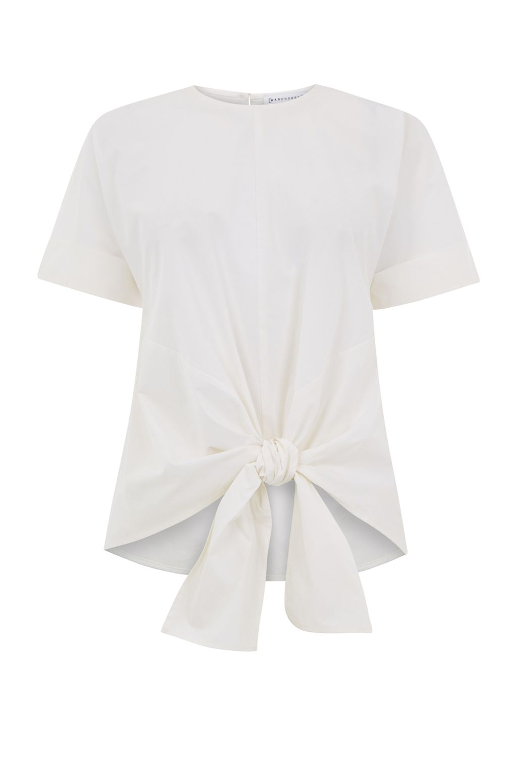 Warehouse Tie Front Cotton Top, White