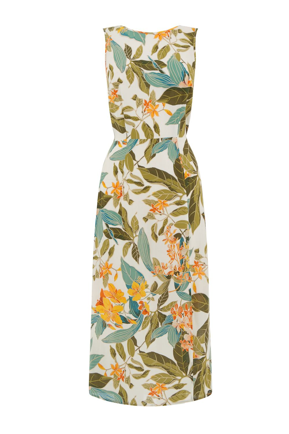 Warehouse Tropical Garden Tie Back Dress, Neutral