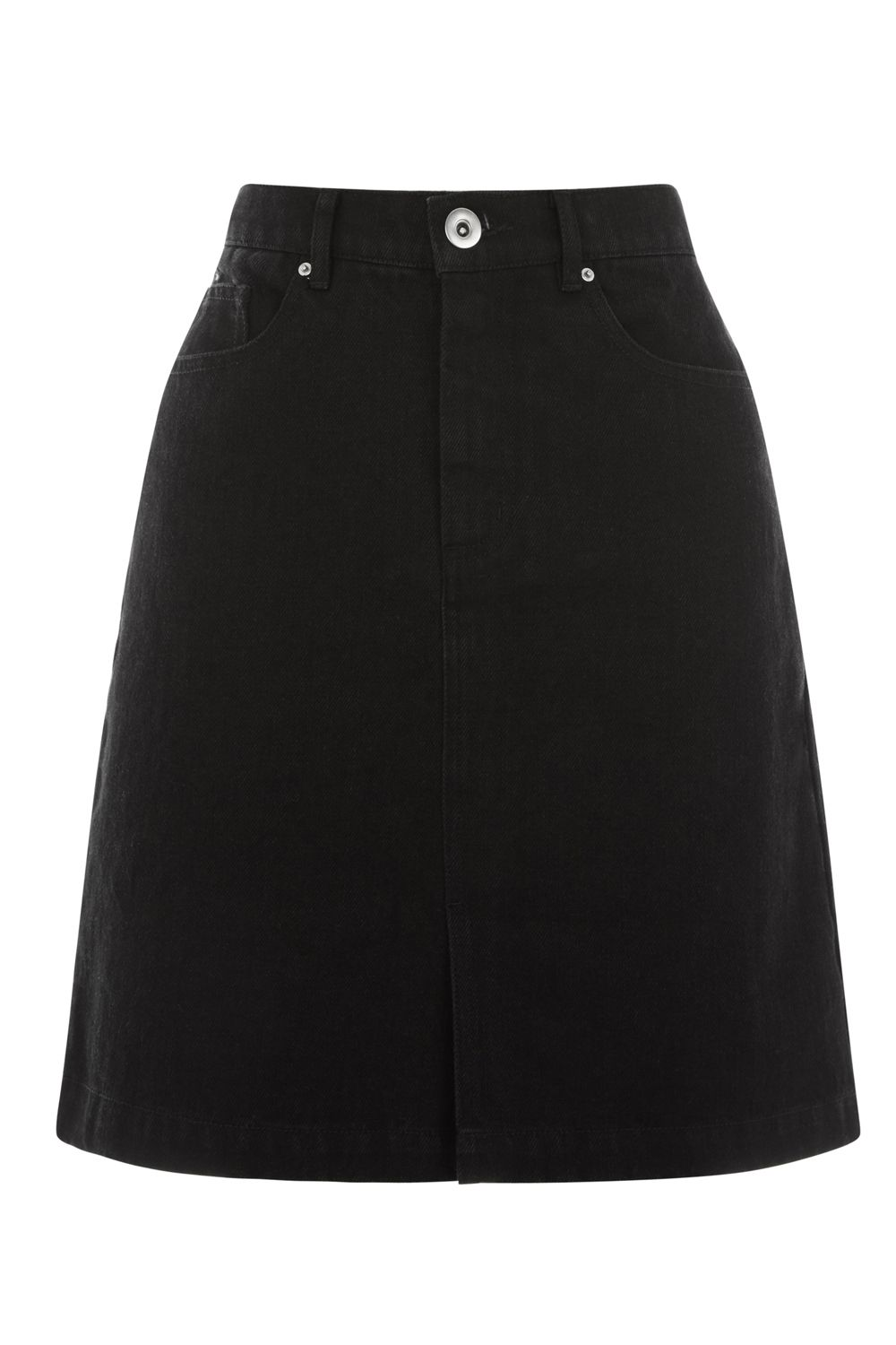 Warehouse Split Front Denim Skirt, Black