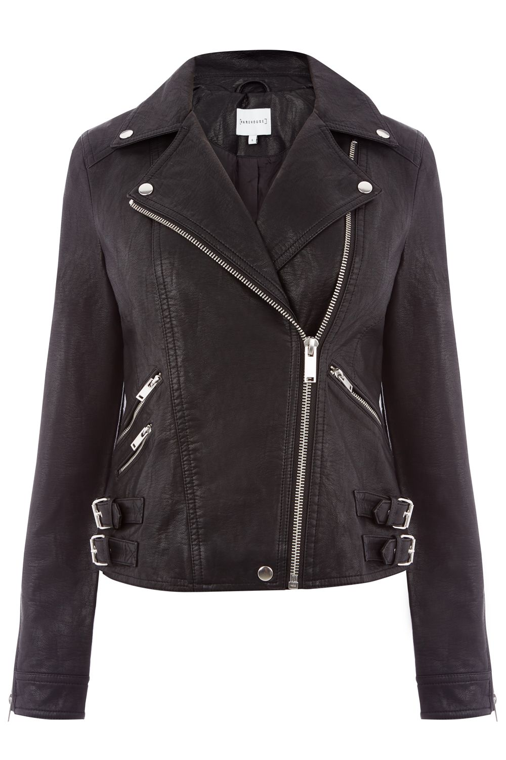 Warehouse Faux Leather Biker, Black