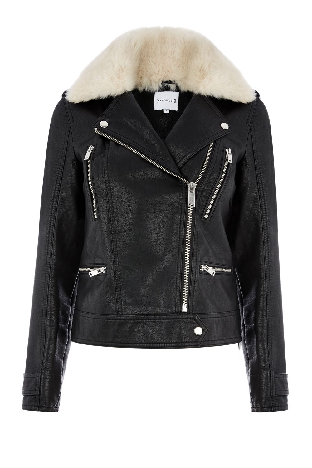 Warehouse Fur Collar Faux Leather Biker, Black