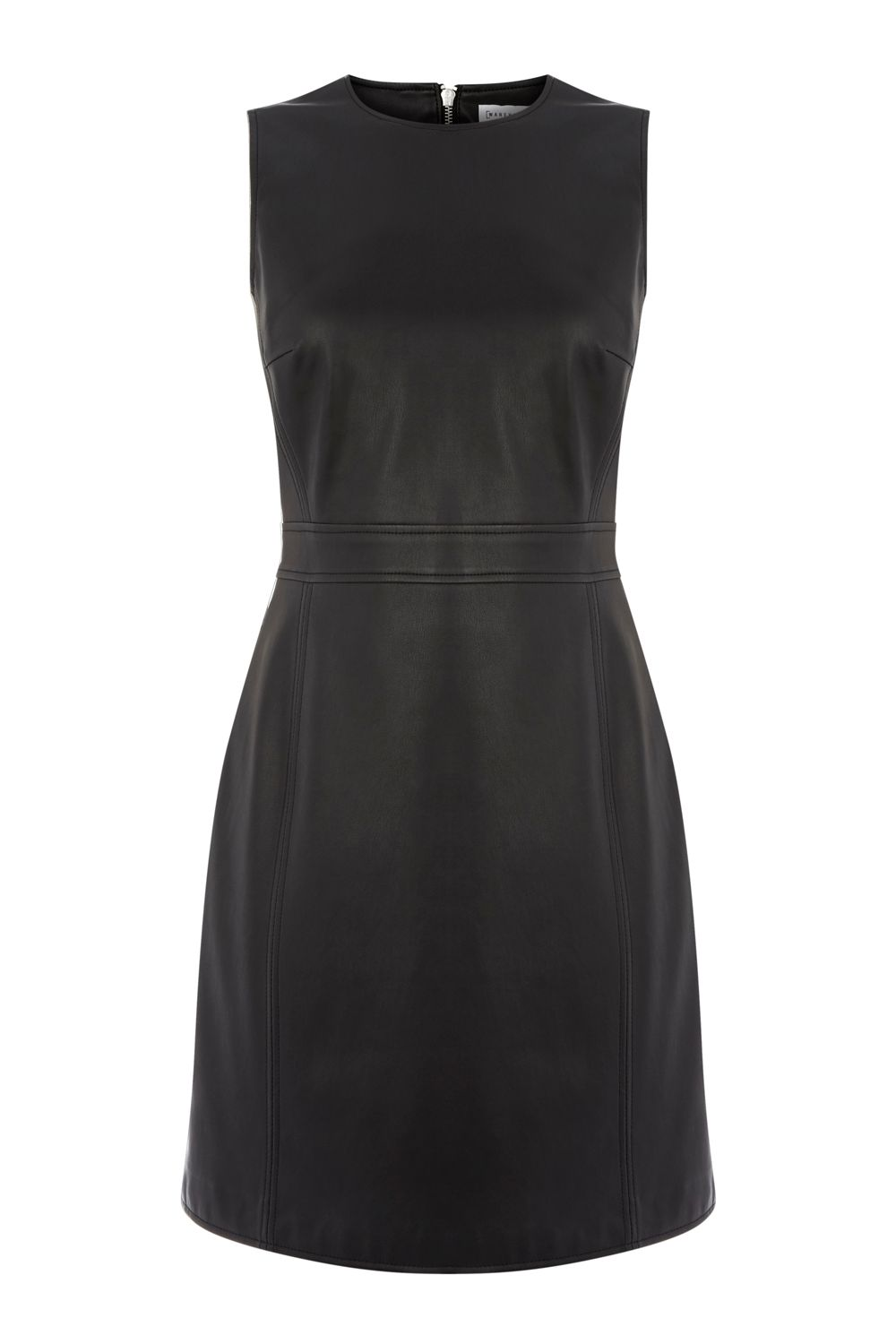 Warehouse Faux Leather Dress, Black